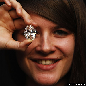 A diamond is displayed at Sotheby's auction house, London