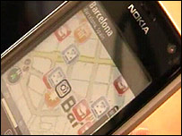A mobile phone using GPS