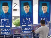 Posters of Malaysian prime minister Badawi