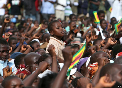 Zimbabweans at a campaign rally for President Robert Mugabe
