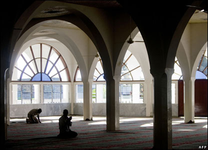The inside of a mosque in Moroni, the Comoros