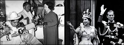 Maruja Echegoyen entrevista artistas mexicanos en 1964, la Reina Isabel II y el pr�ncipe Felipe el d�a de la coronaci�n en 1953