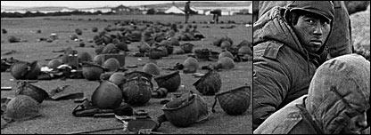 Cascos de soldados argentinos en las islas Falkland o Malvinas, rostros de soldados argentinos capturados durante el conflicto en 1982