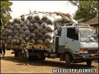 Seized lorry loaded with illegal charcoal (Image: WildlifeDirect)