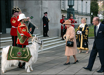 The Queen meets Royal Welsh Regiment goat mascot