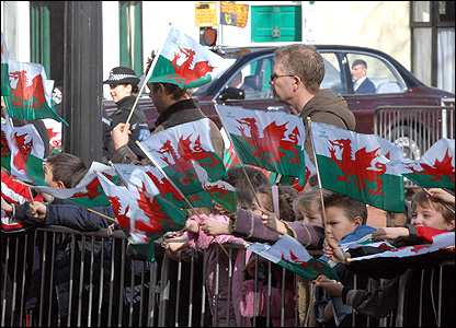 Crowds outside Swansea Guildhall