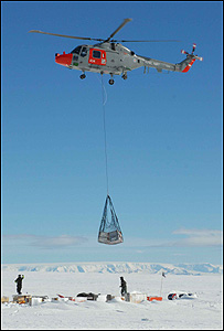 Helicopter dropping supplies in Antarctica (Image: Martin Redfern)