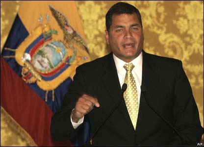 Ecuador's President Rafael Correa denounces the Colombian cross-border raid in a nationally broadcast speech on Sunday 2 March