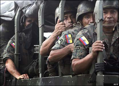 Ecuadorean soldiers are deployed to the border with Colombia on Monday