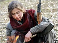 A PKK fighter near Iraq's Turkish border (archive image from December 2007)