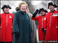 Baroness Thatcher with Chelsea pensioners