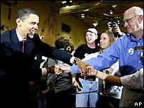 Sen Barack Obama shakes hands before speaking at a town hall meeting in Casper, Wyoming.