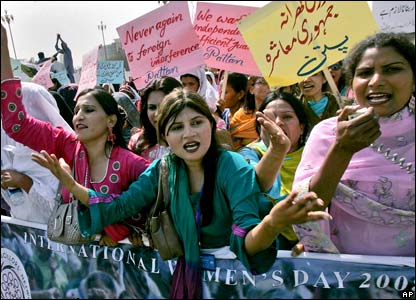 Supporters of Pattan, a non-governmental organisation, chant slogans at a rally in Islamabad.