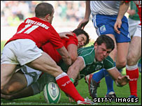 Ireland wing Shane Horgan was stopped just short of the try line