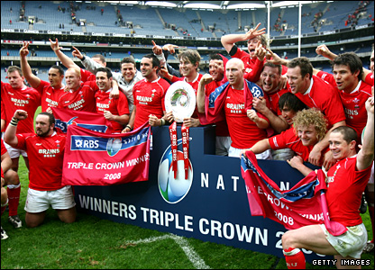 The Welsh team celebrate after being crowned Triple Crown winners. Now for the Grand Slam!