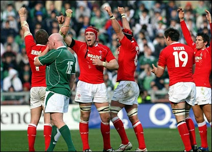 Wales celebrate on the final whistle
