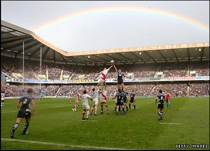 A rainbow over Murrayfield