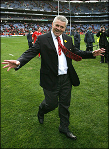Delighted Wales coach Warren Gatland does the Croke Park shuffle. Now for the Grand Slam!