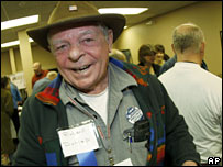 Richard Dunlap heads into the Wyoming Democratic caucuses in Casper, Wyoming
