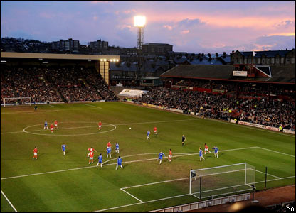The sun sets over Barnsley's ground