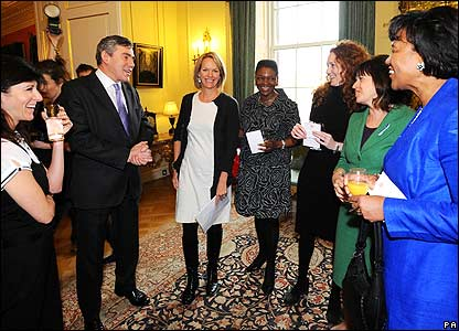 Gordon Brown surrounded by female guests in 10 Downing Street