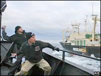 Activists and whaling ship. Image: AP