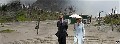 The Royal couple visited the scene of volcanic damage