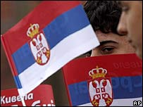 Kosovo Serbs rally against independence in the Gracanica enclave, outside Pristina, on 6 March 