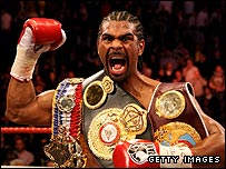David Haye holds the WBC, WBA and WBO cruiserweight titles