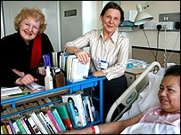 Baroness Neuberger (left) with volunteer Jenny Watkin and hospital patient Sue Macauley