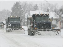 Snowploughs at work in Columbus, Ohio