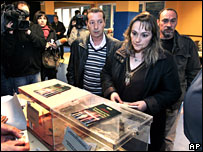 Maria Angeles Romero, centre, widow of the murdered politician Isaias Carrasco, votes in Mondragon, Spain, 9 2008