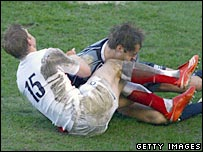 The head of Rory Lamont (right) crashes into Iain Balshaw's knees in the first half on Saturday