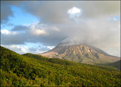 Figure 2: The Soufriere Hills volcano letting out ash.