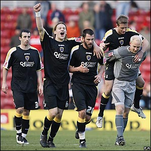 Cardiff's players celebrate victory