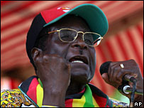 Robert Mugabe addresses party supporters in Mahusekwa, Zimbabwe, 5 March, 2008