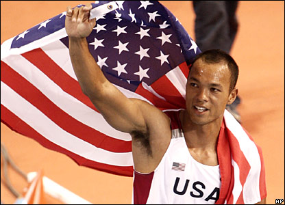 Bryan Clay of the USA celebrates his gold medal victory
