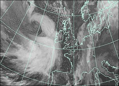 Satellite image at 1700 GMT (Courtesy of EUMETSAT/Met Office)