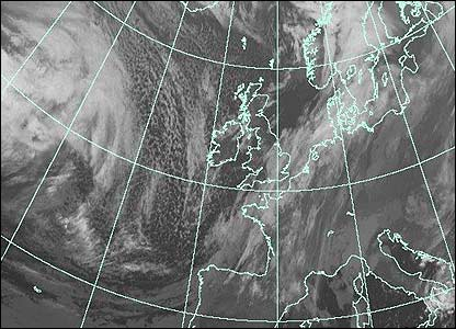 Satellite image at 0100 GMT (Courtesy of EUMETSAT/Met Office)