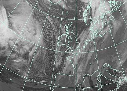 Satellite image at 0400 GMT (Courtesy of EUMETSAT/Met Office)