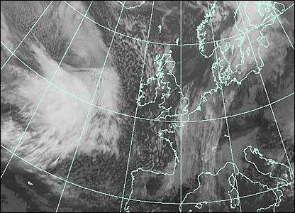Satellite image at 1100 GMT (Courtesy of EUMETSAT/Met Office)