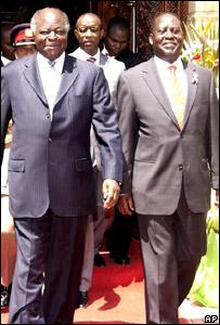 Mwai Kibaki (left) and Raila Odinga