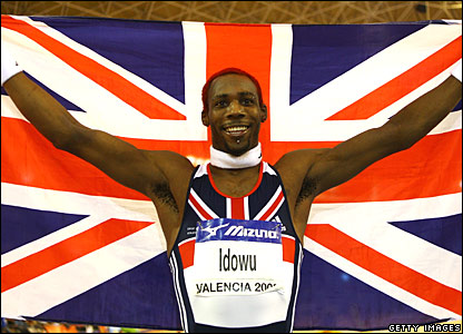 Phillips Idowu celebrates his triple jump success