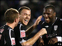 Ishmael Miller (right) celebrates after scoring West Brom's second goal