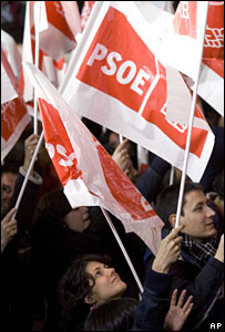 Supporters of Prime Minister Jose Luis Rodriguez Zapatero wave flags at the Socialist party headquarters in Madrid, 9 March, 2008