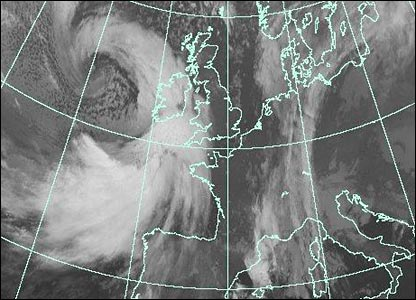 Satellite image at 2100 GMT (Courtesy of EUMETSAT/Met Office)