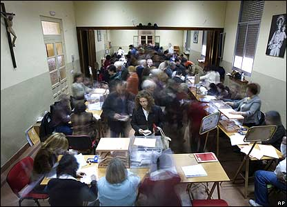 Voters at Spanish polling station