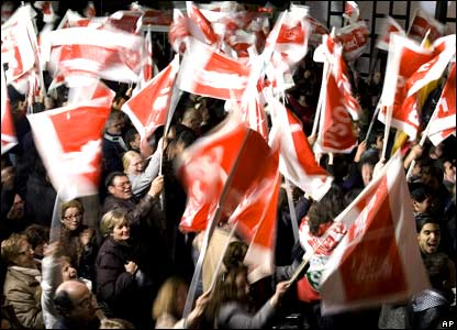 Socialist party supporters waving flags