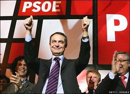 Jose Luis Rodriguez Zapatero celebrates his Socialist party's win at its headquarters in Madrid on Sunday