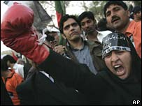 A Pakistani lawyer protests outside the house of sacked chief justice Iftikhar Chaudhry on Saturday